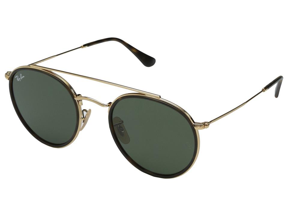 Ray-Ban 0RB3647N 51mm (Top Havana on Shiny Gold Frame/Green Lens) Fashion Sunglasses