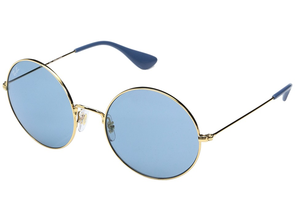Ray-Ban 0RB3592 55mm (Shiny Gold Frame/Light Blue Mirror Light Green Lens) Fashion Sunglasses