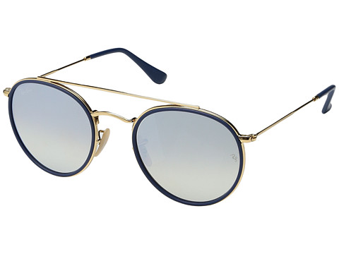 Ray-Ban 0RB3647N 51mm - Top White on Shiny Gold Frame/Dark Blue Flash Lens