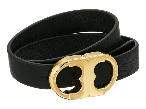Tory Burch Gemini Link Double Wrap Bracelet - Black/Tory Gold