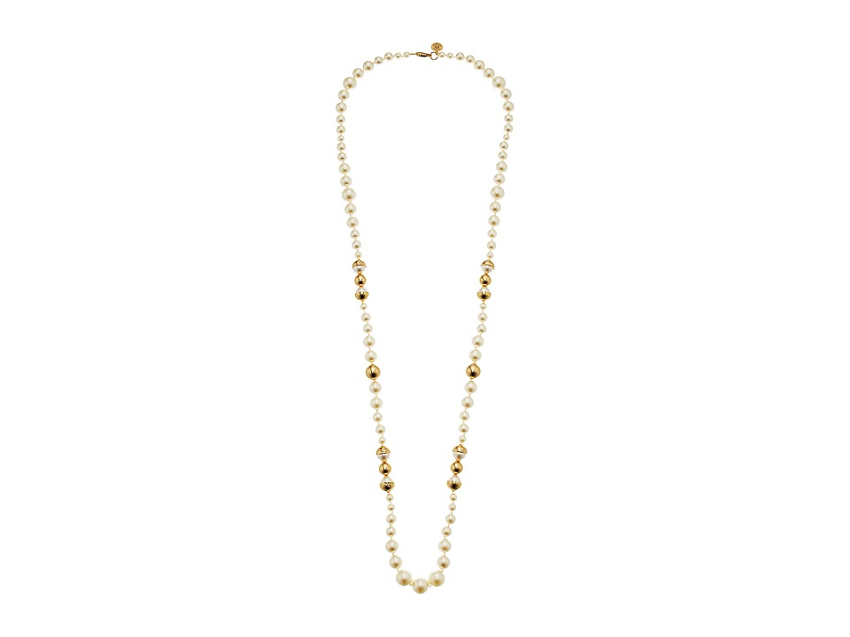 Tory Burch Capped Crystal Pearl Long Necklace (Ivory/Tory...