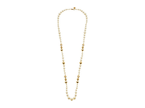 Tory Burch Capped Crystal Pearl Long Necklace - Ivory/Tory Gold