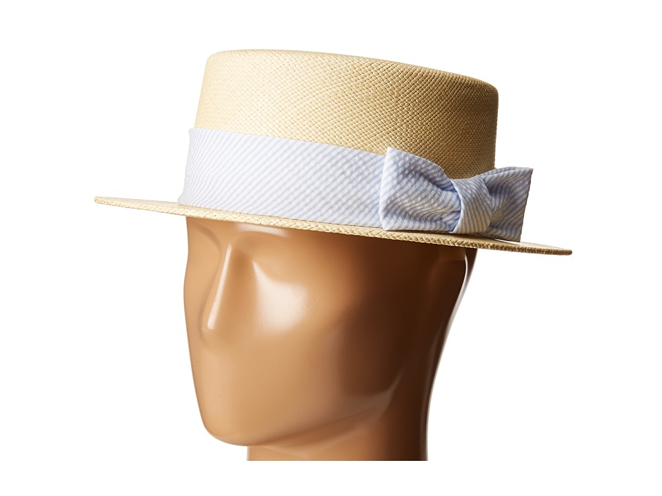 New Edwardian Style Men's Hats 1900-1920 Vineyard Vines - Kentucky Derby Seersucker Straw Derby Hat Jake Blue Caps $82.99 AT vintagedancer.com
