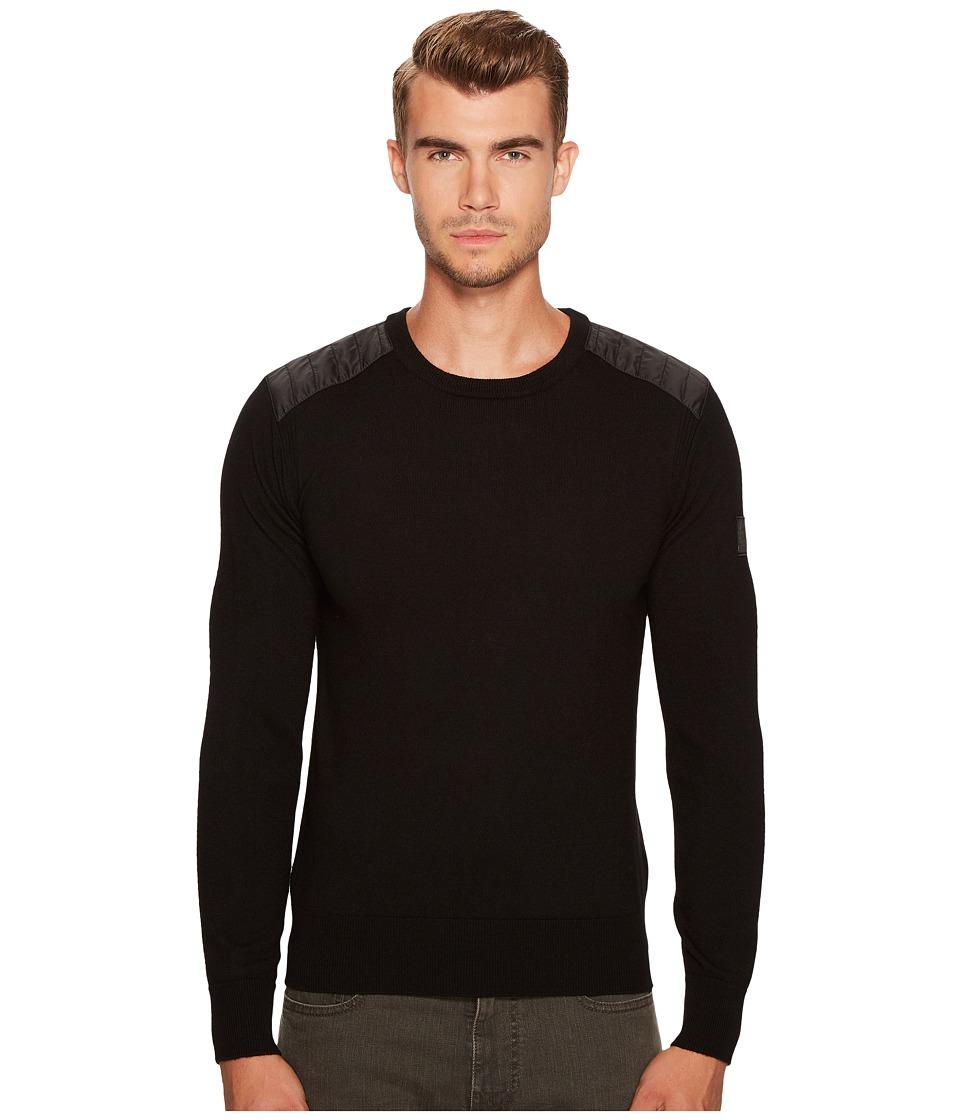 BELSTAFF Kerrigan Merino Wool Paneled Crew Neck Sweater (Black) Men