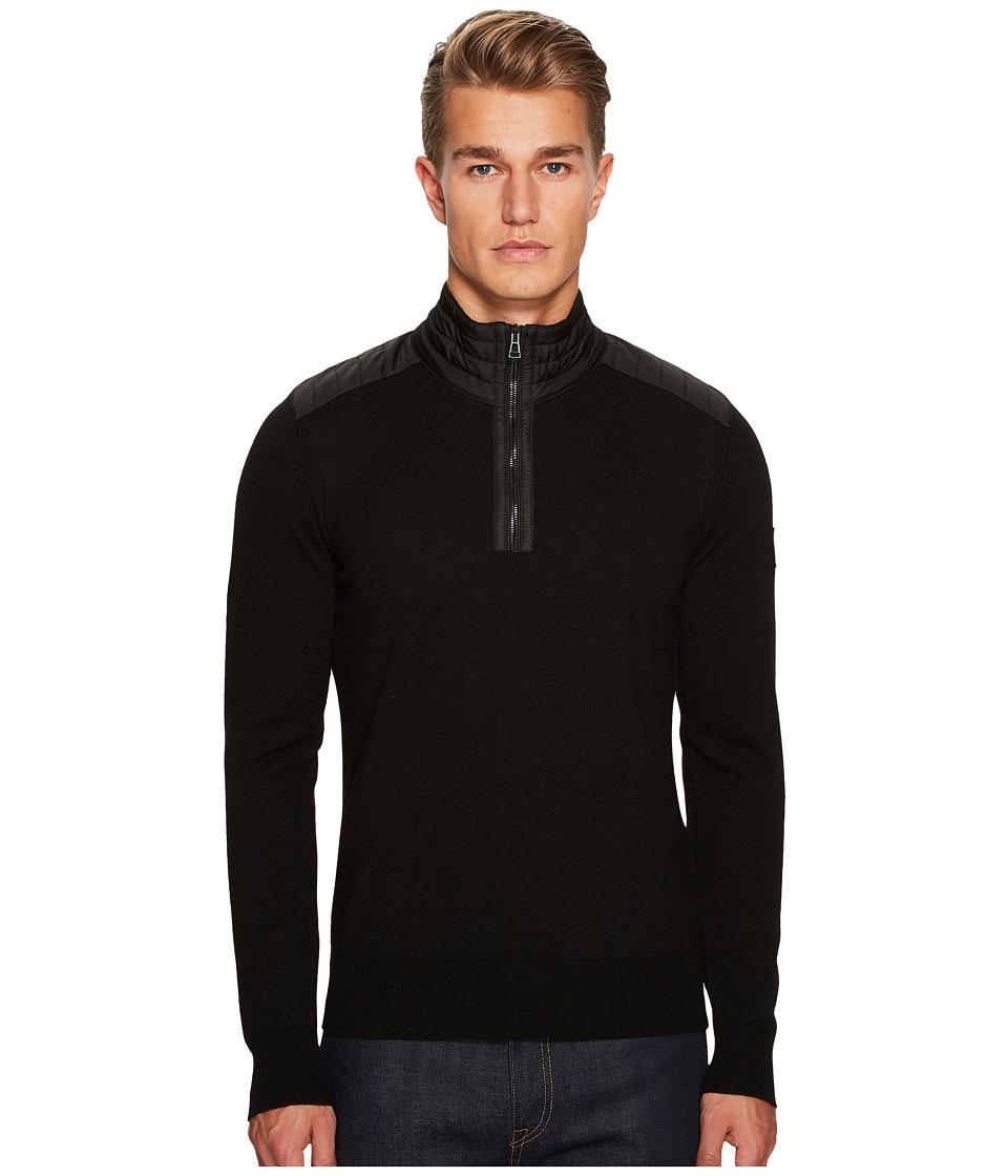 BELSTAFF Kilmington Merino Wool Paneled 1/2 Zip Sweater (Black) Men