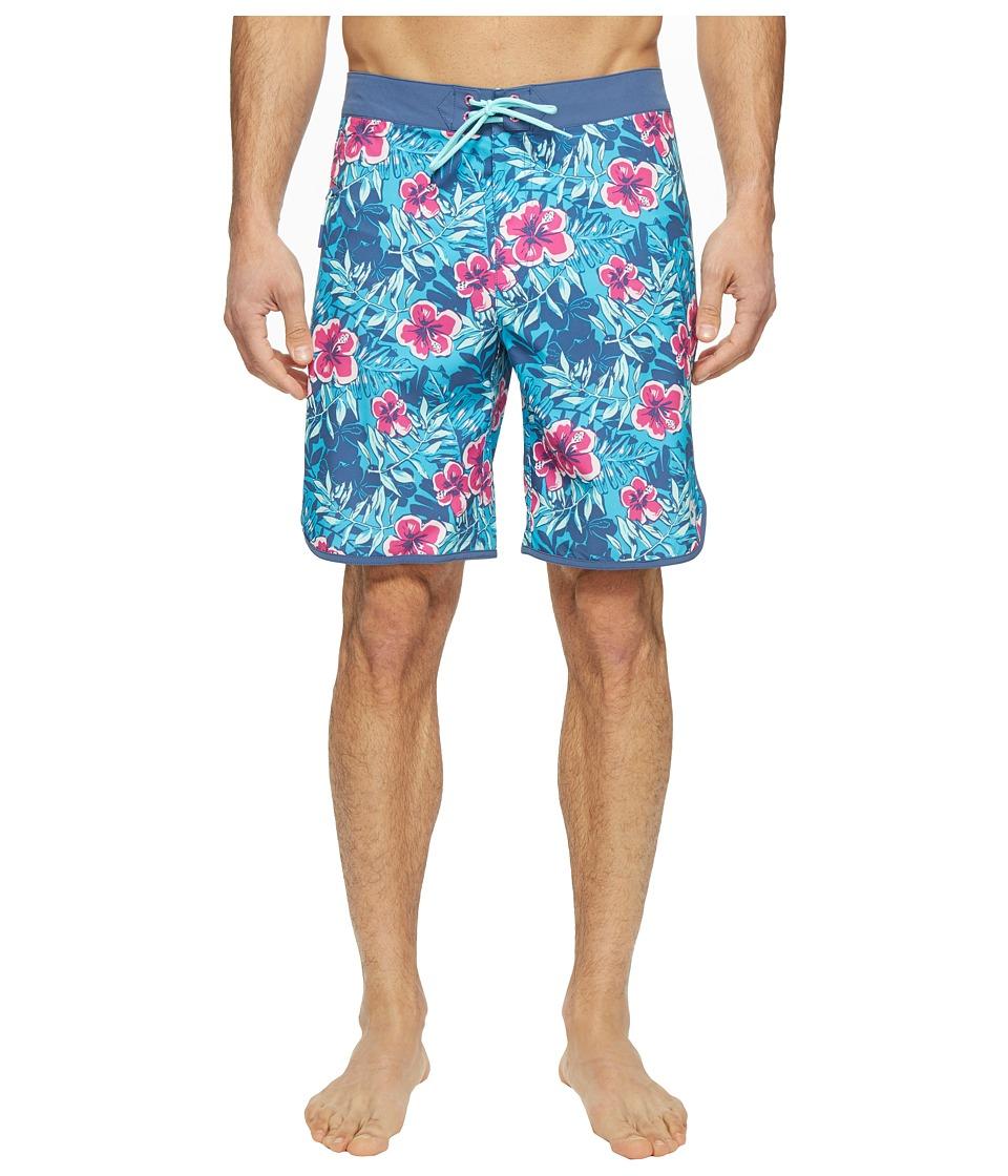 Vineyard Vines Ocean Floral Boardshorts (Caribbean Blue) Men