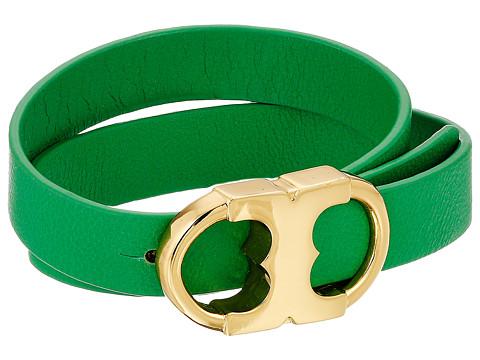 Tory Burch Gemini Link Double Wrap Bracelet - Tory Gold/Green