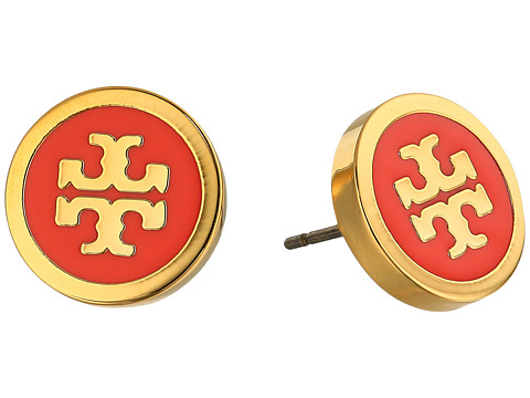 Tory Burch Lacquered Logo Studs Earrings - Coral/Tory Gold