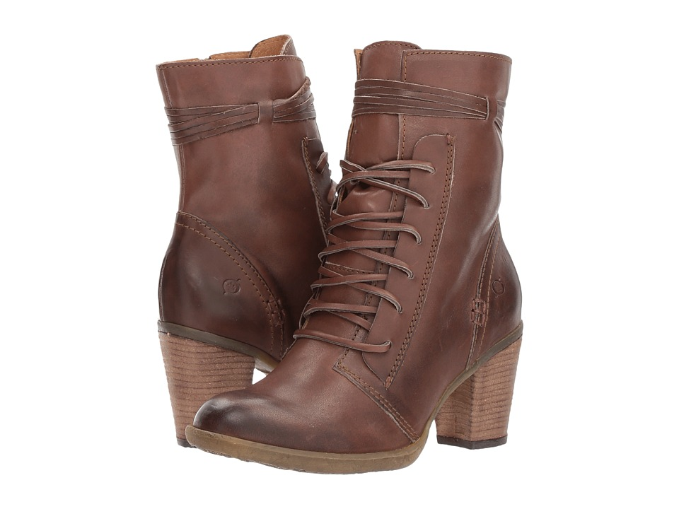 1950s Style Shoes Born - Cirque Tan Full Grain Womens Dress Lace-up Boots $149.95 AT vintagedancer.com