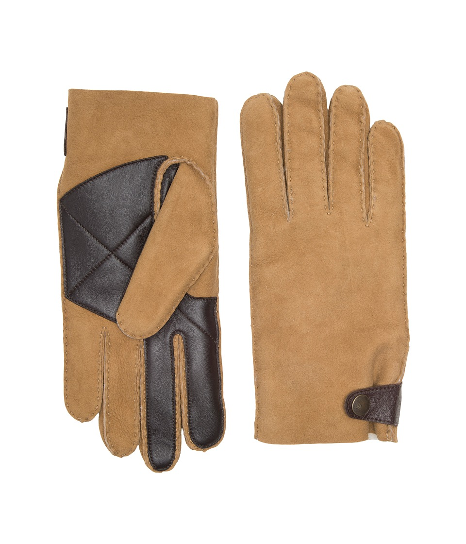 UGG Sheepskin Snap Tab Tech Gloves (Chestnut) Extreme Cold Weather Gloves