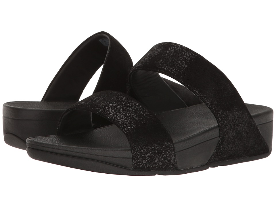 FitFlop - Shimmy Suede Slide (Black Glimmer) Womens  Shoes