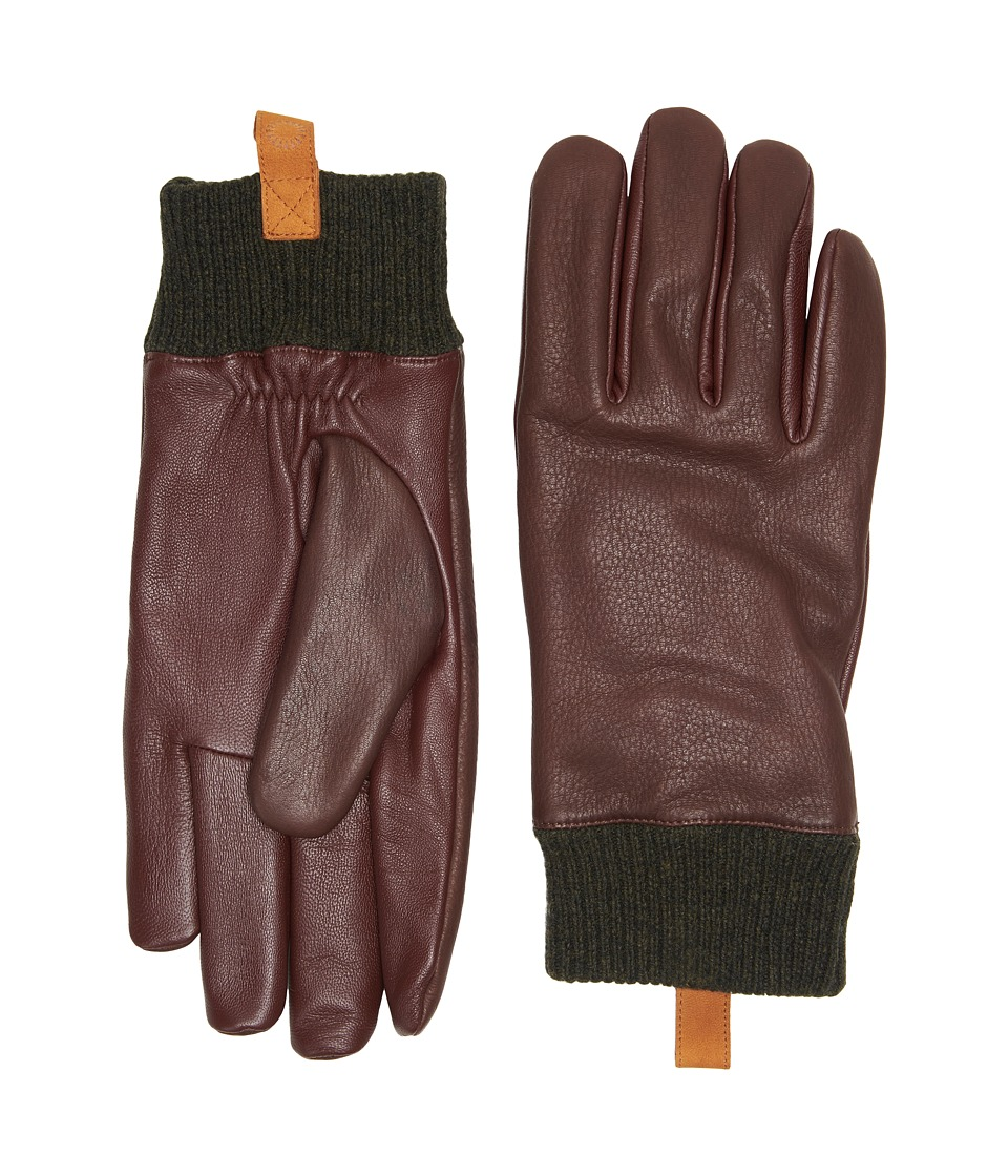 UGG Casual Leather Smart Gloves w/ Knit Cuff (Cordovan) Extreme Cold Weather Gloves