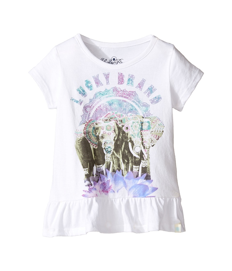 Lucky Brand Kids Short Sleeve Elephant Tee with Ruffle Hem (Toddler) (Bright White) Girl