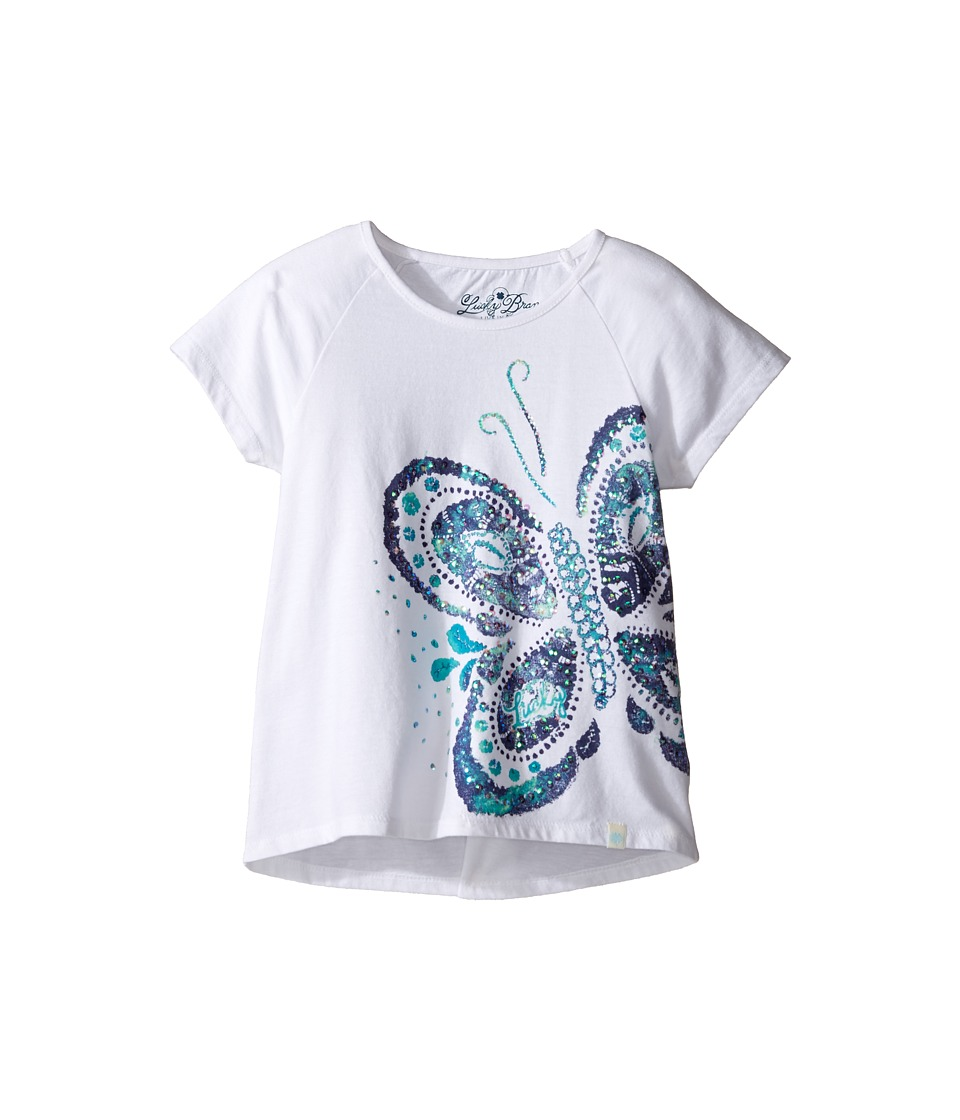 Lucky Brand Kids Short Sleeve Butterfly Tee (Little Kids) (Bright White) Girl