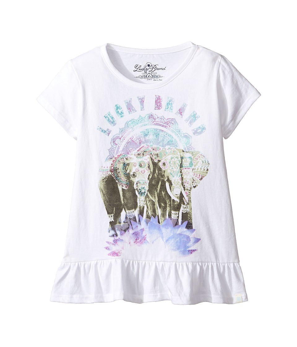 Lucky Brand Kids Short Sleeve Elephant Tee with Ruffle Hem (Little Kids) (Bright White) Girl