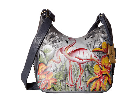 Anuschka Handbags 433 Classic Hobo With Studded Side Pockets - Flamboyant Flamingos