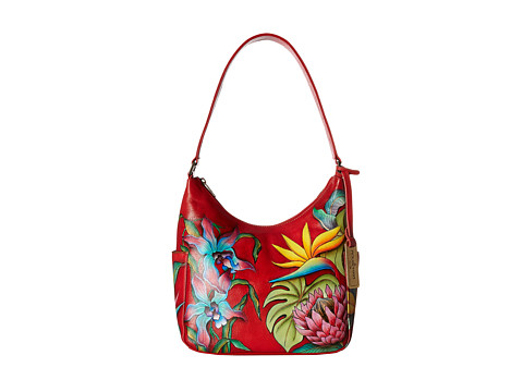 Anuschka Handbags 382 Classic Hobo With Side Pockets