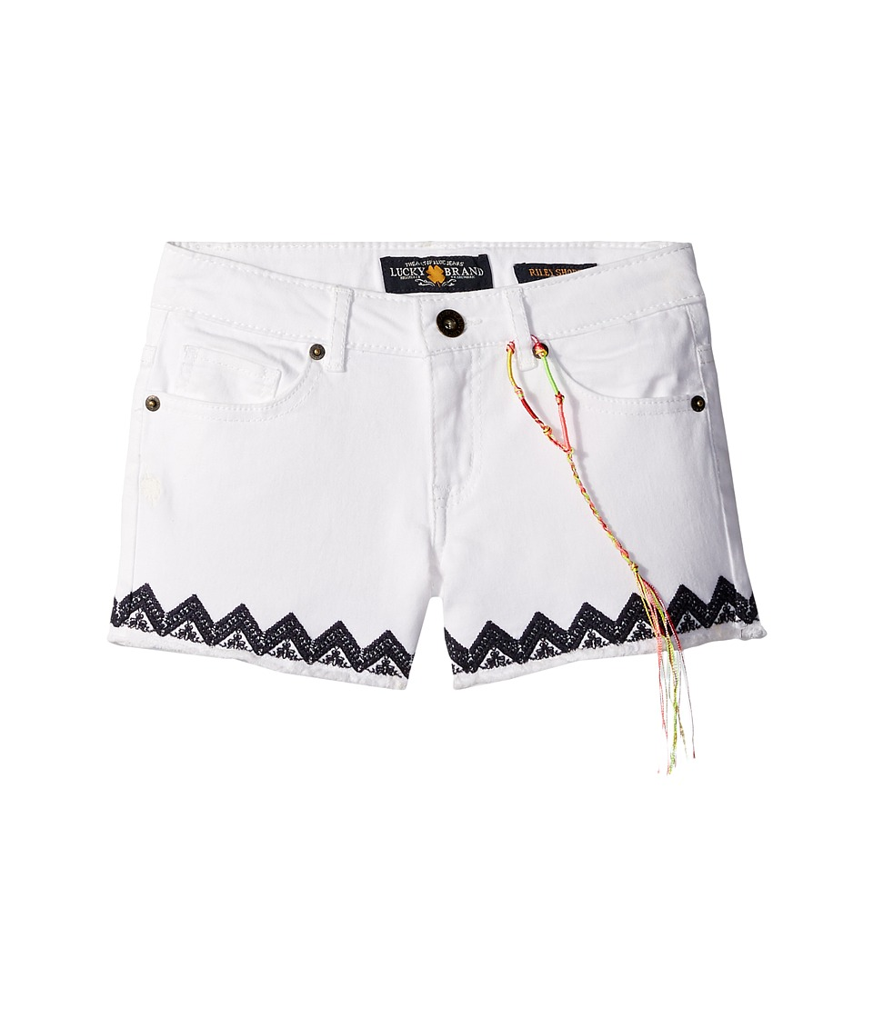 Lucky Brand Kids - Riley Stretch Denim Shorts with Embroidery