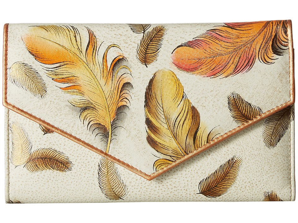 Anuschka Handbags - 1006 Check Book Wallet (Floating Feathers Ivory) Handbags