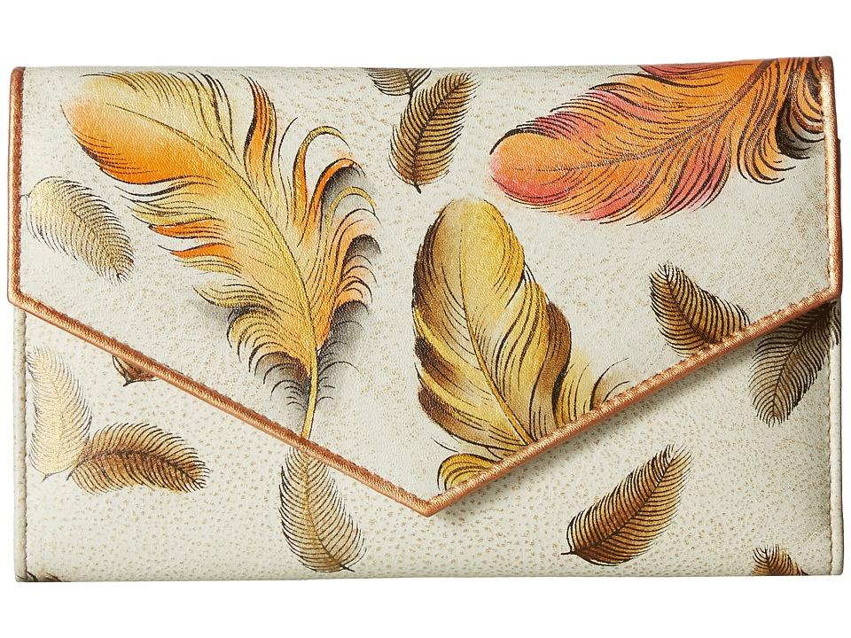 Anuschka Handbags - 1006 Check Book Wallet (Floating Feathers Ivory) Handbags