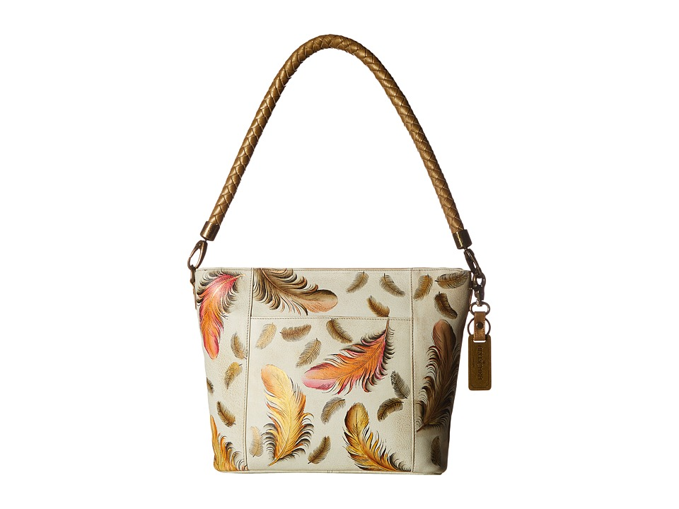 Anuschka Handbags - 608 Medium Hobo (Floating Feathers Iv...