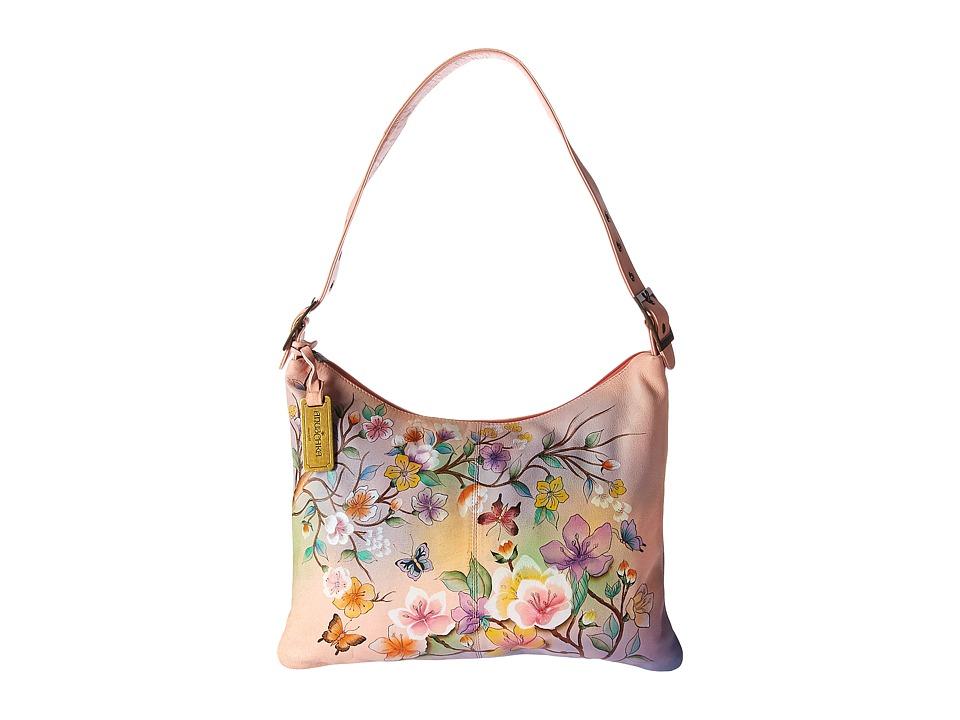 Anuschka Handbags - 605 Slim Large Hobo (Japanese Garden)...