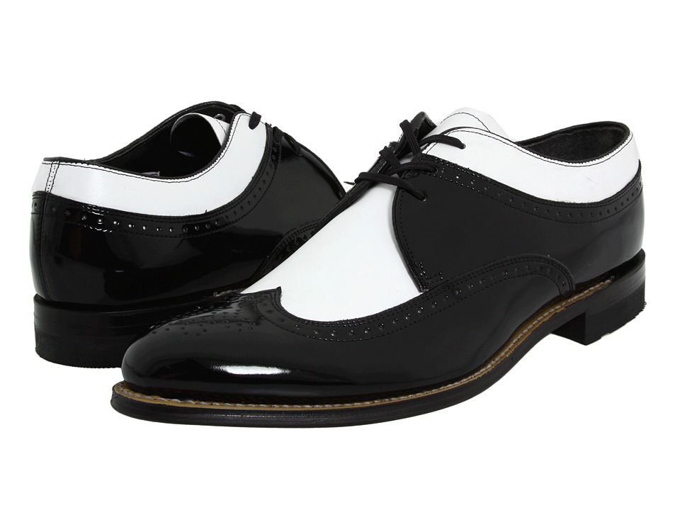 1960s Style Men's Clothing, 70s Men's Fashion Stacy Adams - Dayton - Wingtip Black w White Mens Shoes $100.00 AT vintagedancer.com
