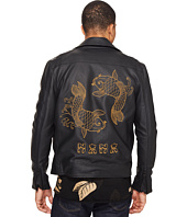 nANA jUDY - The Back In Black Faux Leather Biker Jacket with Koi Fish Embroidery