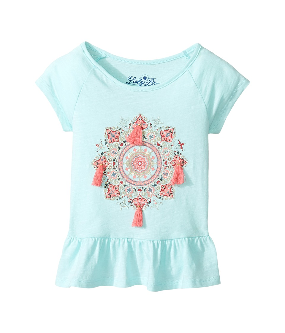 Lucky Brand Kids Cap Sleeve Mandala Tee with Ruffle Hem (Toddler) (Blue Tint) Girl