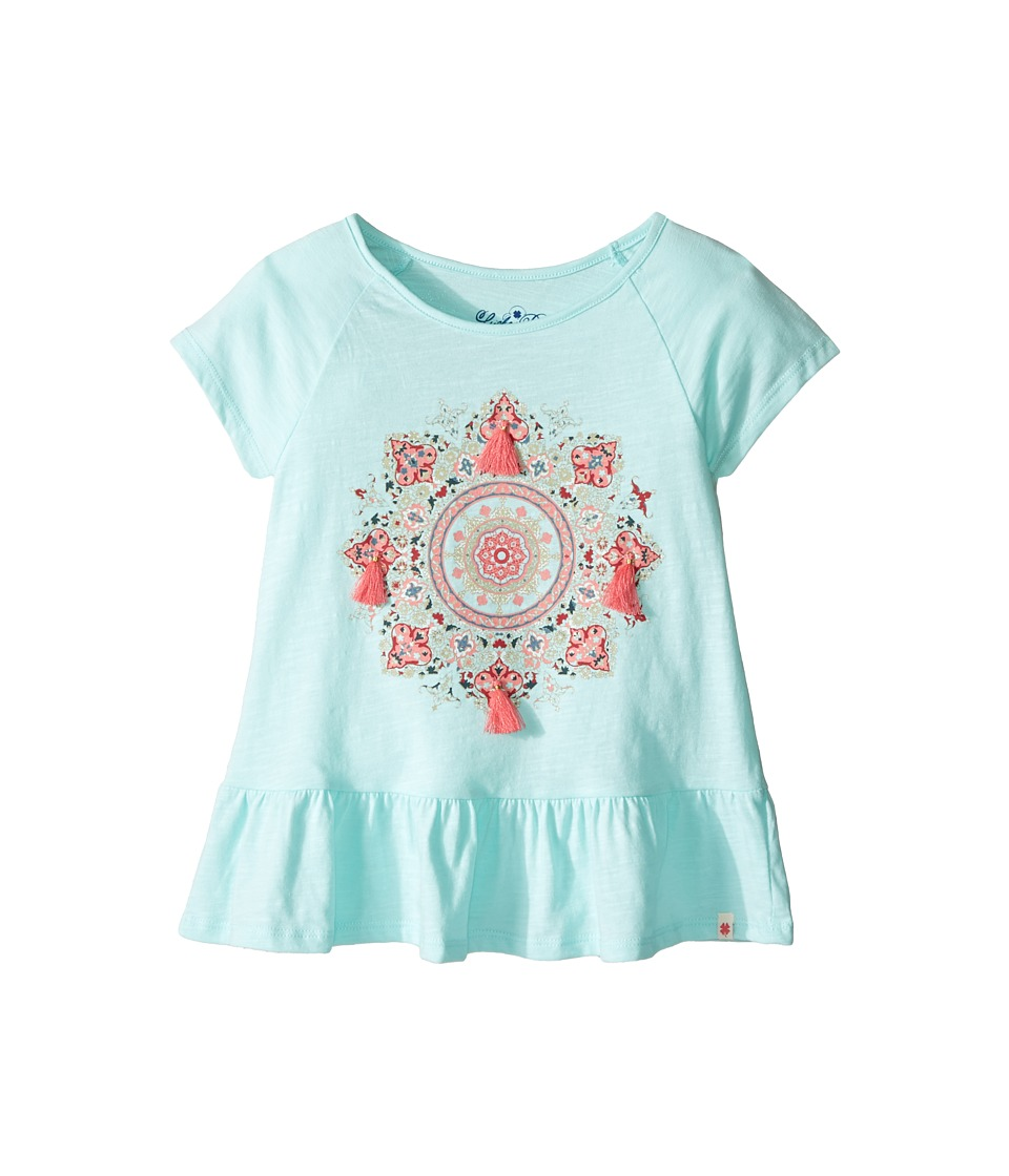 Lucky Brand Kids Cap Sleeve Mandala Tee with Ruffle Hem (Little Kids) (Blue Tint) Girl