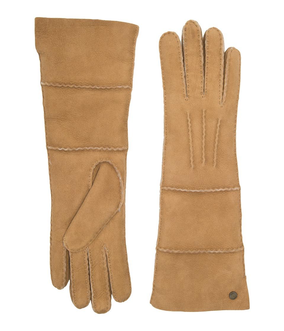 Ugg Long Pieced Sheepskin Gloves with Slim Pile (Chestnut...