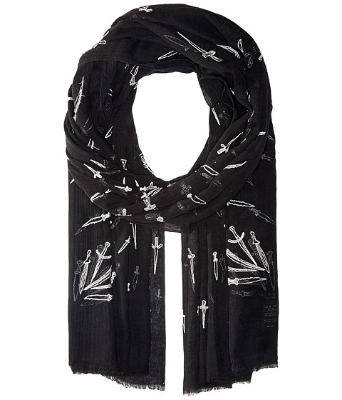 rag & bone Embroidered Dagger Scarf - Black Multi