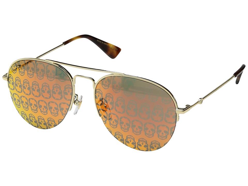 Gucci GG0107S (Gold/Orange Mirror/Gucci Ghost) Fashion Su...