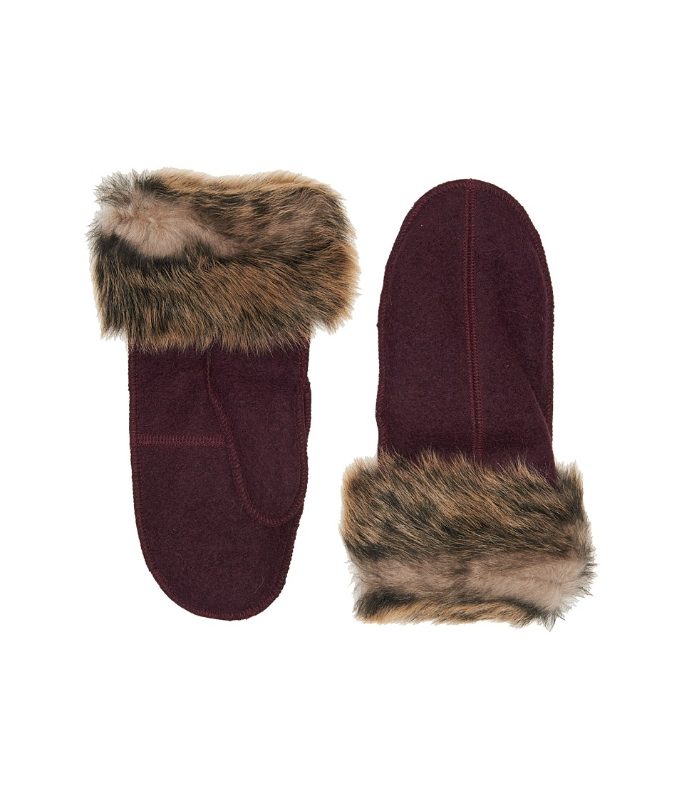 UGG Fabric Mitten with Fur Trim (Port) Extreme Cold Weather Gloves