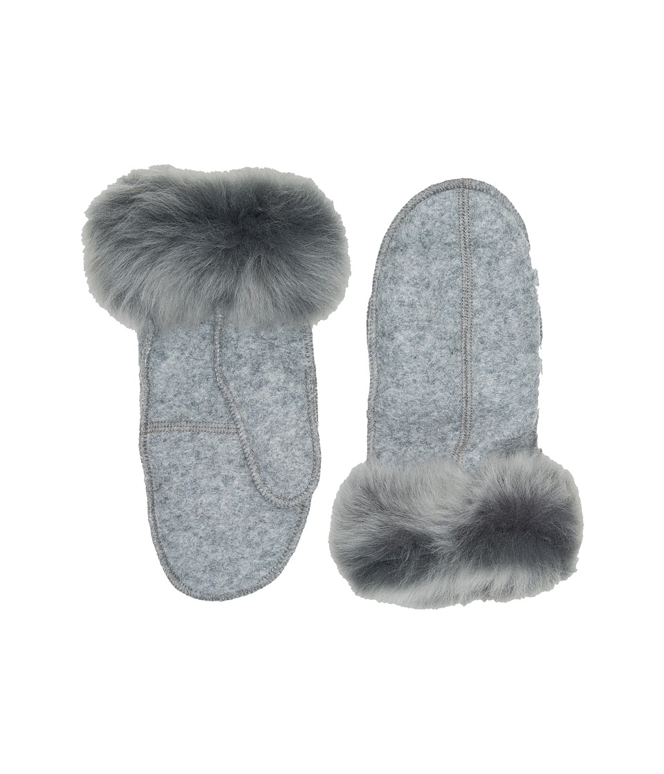 UGG Fabric Mitten with Fur Trim (Grey Heather) Extreme Cold Weather Gloves