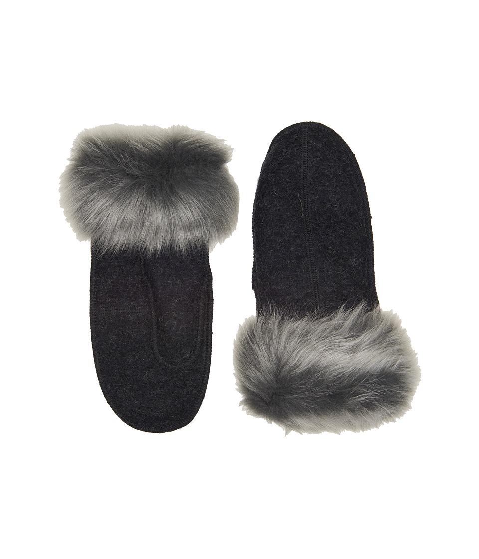 UGG Fabric Mitten with Fur Trim (Black Heather) Extreme Cold Weather Gloves