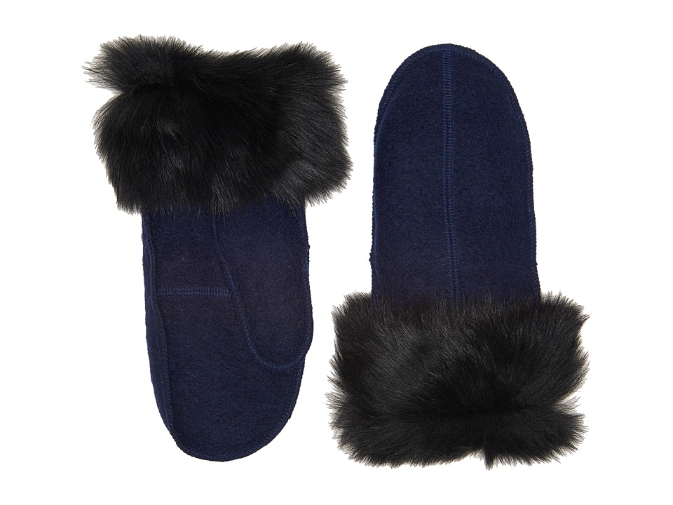 UGG Fabric Mitten with Fur Trim (New Navy) Extreme Cold Weather Gloves