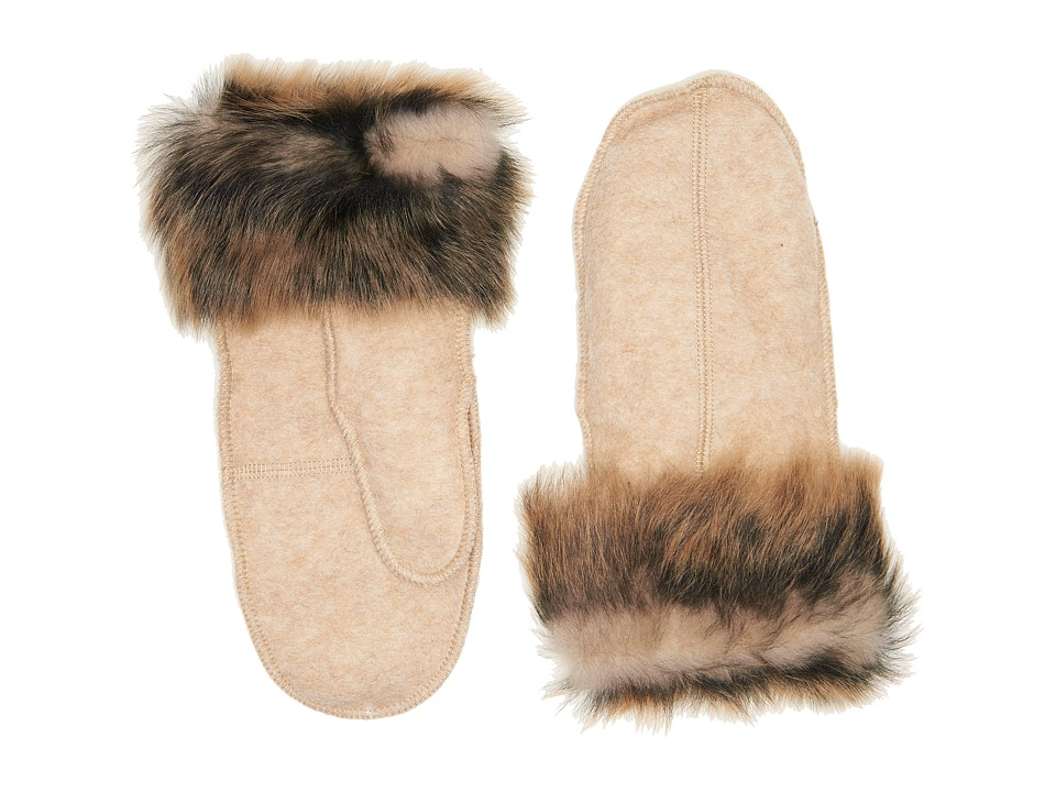 UGG Fabric Mitten with Fur Trim (Natural Heather) Extreme Cold Weather Gloves