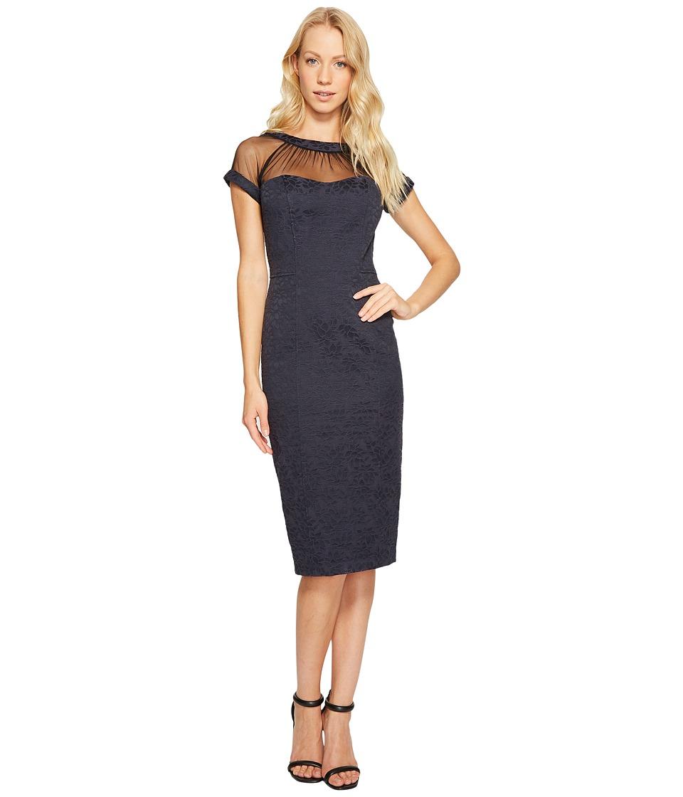Maggy London Tossed Leaf Jacquard Illusion Dress (Dark Navy) Women