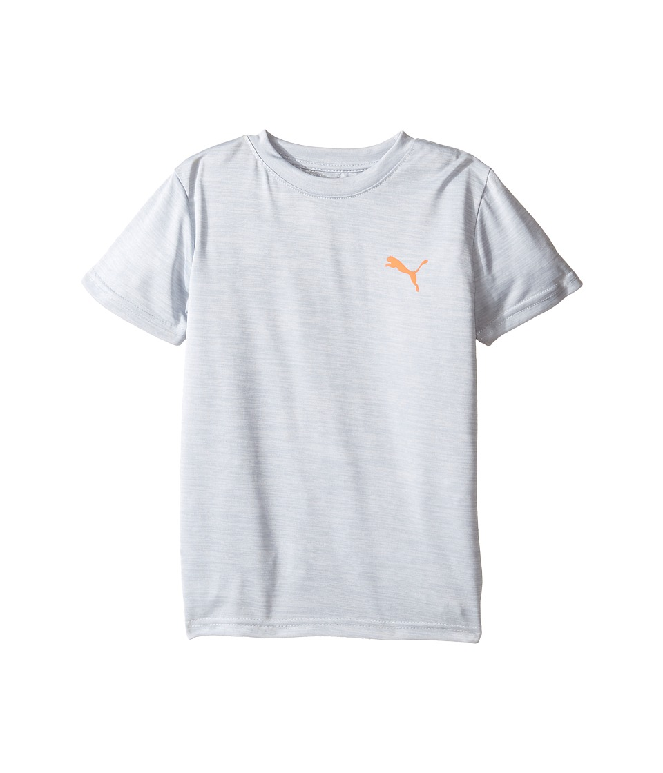 Puma Kids Logo Heather Tee (Little Kids/Big Kids) (Tin Heather Grey) Boy