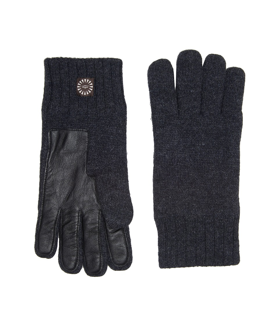 UGG Knit Gloves w/ Smart Leather Palm (Graphite Heather) Extreme Cold Weather Gloves