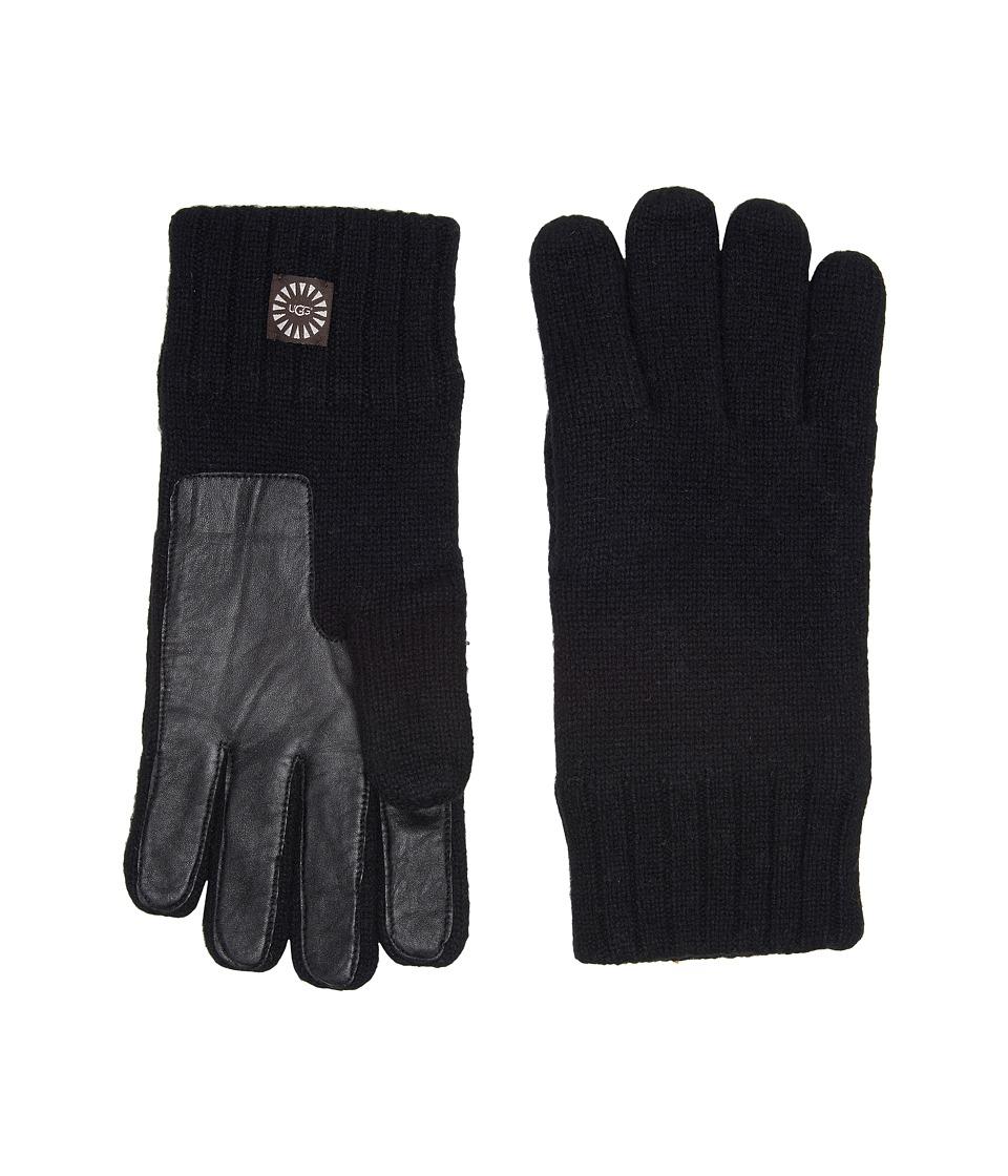 UGG Knit Gloves w/ Smart Leather Palm (Black) Extreme Cold Weather Gloves