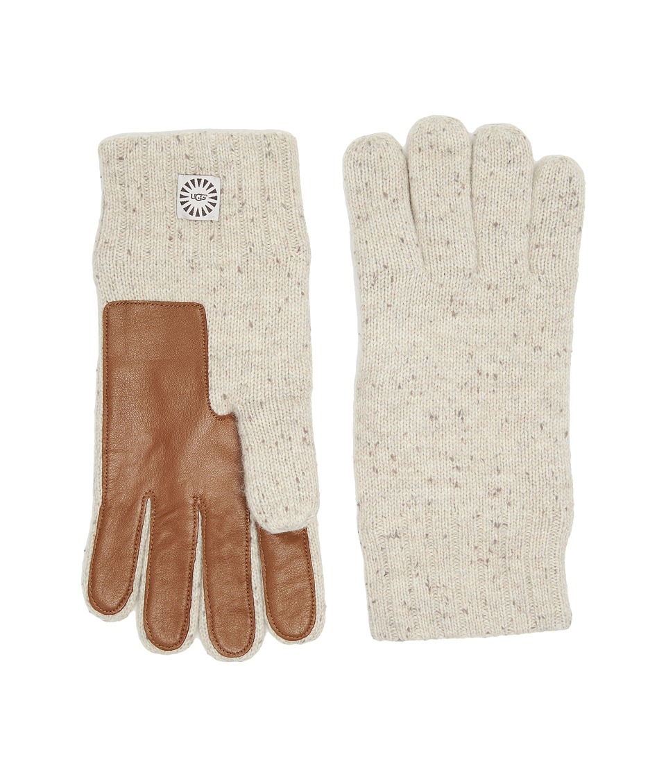 UGG Knit Gloves w/ Smart Leather Palm (Birch Heather) Extreme Cold Weather Gloves