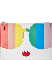 Alice + Olivia - Rainbow Print Stace Face Large Zip Pouch