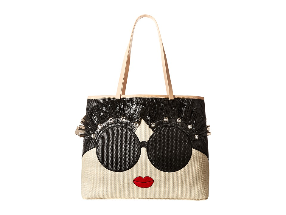 Alice + Olivia - Stace Face Embroidered Straw Tote