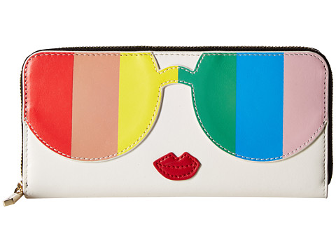 Alice + Olivia Rainbow Print Stace Face Long Zip Wallet