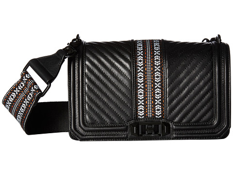 Rebecca Minkoff Jacquard Love Crossbody w/ Guitar Strap - Black