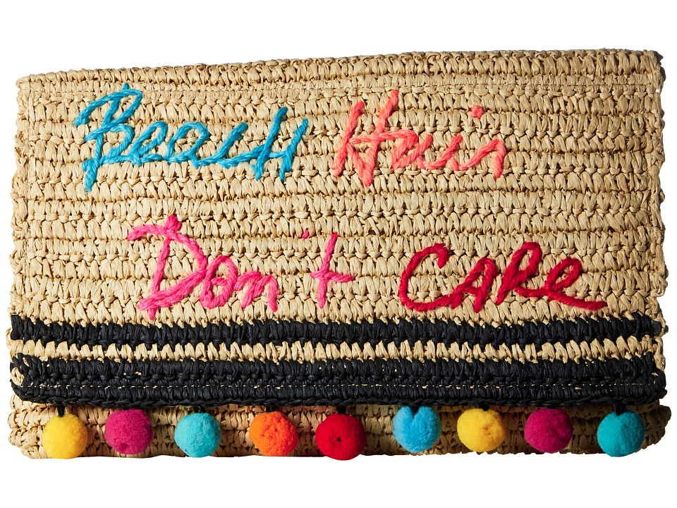 Rebecca Minkoff Beach Hair Dont Care Straw Clutch (Natural) Clutch Handbags