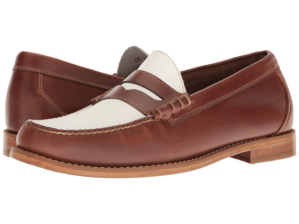 1940s Style Mens Shoes G.H. Bass amp Co. - Larson Weejuns Saddle TanWhite Pull-Up Mens Slip-on Dress Shoes $77.99 AT vintagedancer.com