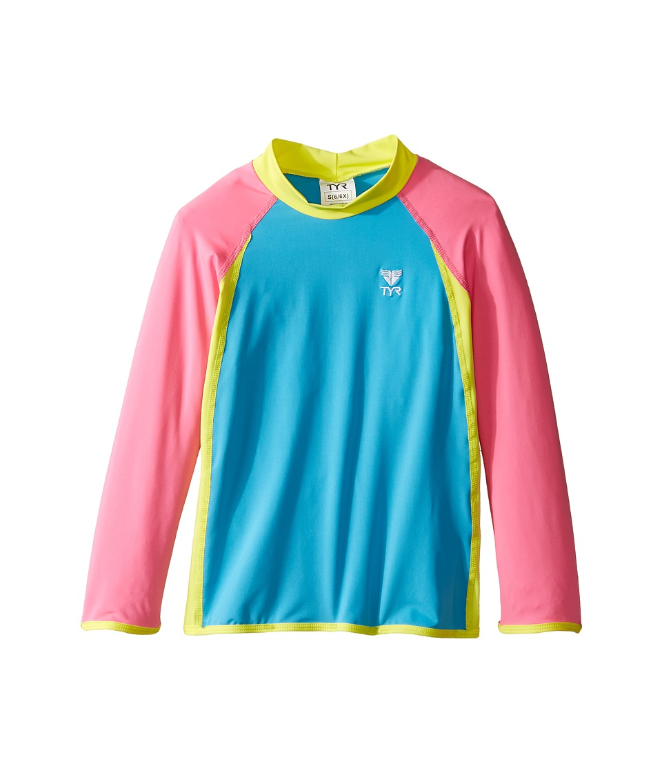 TYR Kids Solid Rashguard (Little Kids/Big Kids) (Blue/Pink/Yellow) Girl